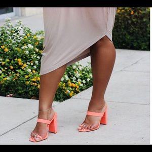 *New* Neon coral chunky heel sandal
